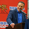 "Kokomo mayor Tyler Moore speaks during a special ceremony inside Memorial Gym on Thursday, Feb. 6, when the City of Kokomo announced the honorary renaming of West Superior Street leading to Memorial Gym ""Jimmy Rayl Boulevard.""<br /> Kelly Lafferty Gerber 