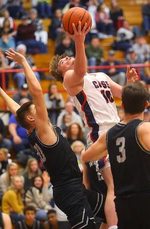 2-14-20<br /> Cass vs Western boys basketball<br /> Cass' Austin Holt puts up a shot.<br /> Kelly Lafferty Gerber | Kokomo Tribune