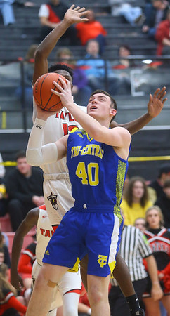 2-28-20<br /> Taylor vs Tri-Central boys basketball<br /> Tri-Central's Mason Pickens puts up a shot.<br /> Kelly Lafferty Gerber | Kokomo Tribune