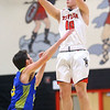 2-28-20<br /> Taylor vs Tri-Central boys basketball<br /> Taylor's Ryley Gilbert shoots.<br /> Kelly Lafferty Gerber | Kokomo Tribune