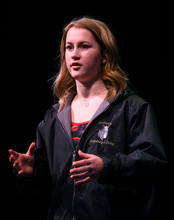 Makinzie France, Distinguished Young Woman of Miami County, gives a speech about being the only girl on North Miami's swim team, a program she started. Distinguished Young Women of Indiana kicked off its 2020 program on Thursday, Feb. 13 at Havens Auditorium at IUK.<br /> Kelly Lafferty Gerber   Kokomo Tribune