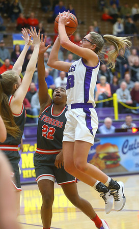 2-15-20<br /> Northwestern vs Fishers girls basketball regional semi-final<br /> Madison Layden puts up a shot.<br /> Kelly Lafferty Gerber | Kokomo Tribune