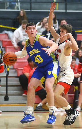 2-28-20<br /> Taylor vs Tri-Central boys basketball<br /> Tri-Central's Mason Pickens looks to the basket.<br /> Kelly Lafferty Gerber | Kokomo Tribune
