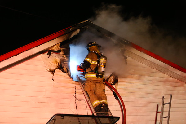 Firefighters extinguish a fire at 4765 West 250 South in West Middleton on February 4, 2020. Harrison Twp, Russiaville, Taylor Twp and EMA volunteer fire departments all responded to the single story house fire that was reported as unoccupied.<br /> Tim Bath | Kokomo Tribune