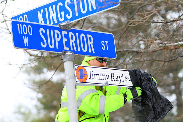 City of Kokomo Traffic Department unveils the new honorary street signs for Jimmy Rayl Blvd along Superior Street on February 6, 2020.<br /> Tim Bath | Kokomo Tribune