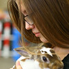 Freshman Alisah Truax, 15, snuggles one of the rabbits in Maconaquah High School's  Brave Bunny Rabbitry on Feb. 26, 2020.<br /> Kelly Lafferty Gerber | Kokomo Tribune