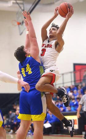 2-28-20<br /> Taylor vs Tri-Central boys basketball<br /> Taylor's Jaylen Harris puts up a shot.<br /> Kelly Lafferty Gerber | Kokomo Tribune
