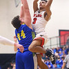 2-28-20<br /> Taylor vs Tri-Central boys basketball<br /> Taylor's Jaylen Harris puts up a shot.<br /> Kelly Lafferty Gerber | Kokomo Tribune