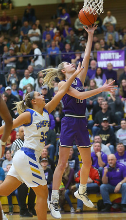 2-15-20<br /> Northwestern vs Homestead girls basketball regional championship<br /> McKenna Layden heads to the basket.<br /> Kelly Lafferty Gerber | Kokomo Tribune