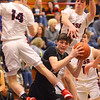 2-14-20<br /> Cass vs Western boys basketball<br /> Cass' Garrett McLeland and Tyson Good put up defense on Western's Dylan Bryant.<br /> Kelly Lafferty Gerber | Kokomo Tribune