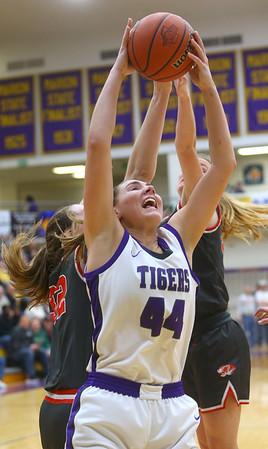 2-15-20<br /> Northwestern vs Fishers girls basketball regional semi-final<br /> Kendall Bostic pulls down a rebound.<br /> Kelly Lafferty Gerber | Kokomo Tribune