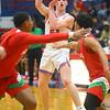 2-21-20<br /> Kokomo vs Anderson boys basketball<br /> Kokomo's Jackson Richards tosses a pass.<br /> Kelly Lafferty Gerber | Kokomo Tribune