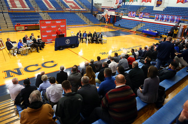 """The late Jimmy Rayl's former basketball teammates, coaches, friends and family joined together for a special ceremony inside Memorial Gym on Thursday, Feb. 6, when the City of Kokomo announced the honorary renaming of West Superior Street leading to Memorial Gym """"Jimmy Rayl Boulevard.""""<br /> Kelly Lafferty Gerber   Kokomo Tribune"""