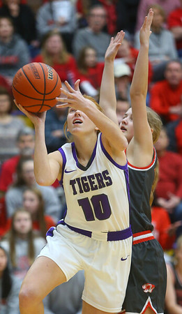 2-15-20<br /> Northwestern vs Fishers girls basketball regional semi-final<br /> Klair Merrell puts up a shot.<br /> Kelly Lafferty Gerber   Kokomo Tribune
