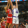 2-29-20<br /> Northwestern vs Lawrence North girls basketball state finals<br /> Kendall Bostic goes up for a rebound.<br /> Kelly Lafferty Gerber | Kokomo Tribune