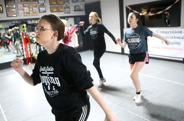 21-year-old instructor Kelsey Shuck, left, leads the new routine during a Split Sole Clogging Connection class on Saturday, Feb. 7, 2020.<br /> Kelly Lafferty Gerber | Kokomo Tribune