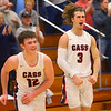 2-14-20<br /> Cass vs Western boys basketball<br /> Cass' Isaac Chambers, left, and Easton Good celebrate after their win in overtime.<br /> Kelly Lafferty Gerber | Kokomo Tribune