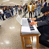 Kokomo High School students dress as famous musicians during lunch hour for Black History Month on February 26, 2020. Ray Charles portrayed by James Herring does a musical number.<br /> Tim Bath | Kokomo Tribune
