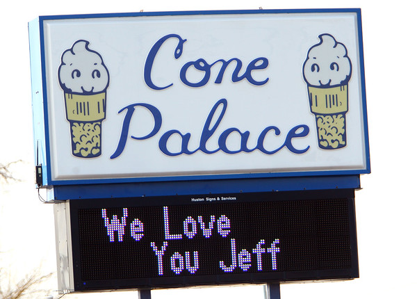 The sign at Cone Palace expresses staff feelings over the death of Jeff Stout who owned the store along with his wife Tami on February 7, 2020.<br /> Tim Bath | Kokomo Tribune