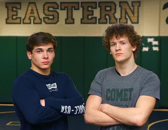 2-20-20<br /> Eastern wrestlers Brodie Porter, left, and Tytus Morrisett.<br /> Kelly Lafferty Gerber | Kokomo Tribune