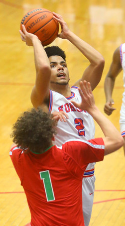 2-21-20<br /> Kokomo vs Anderson boys basketball<br /> Kokomo's Ta'Shy Stewart shoots.<br /> Kelly Lafferty Gerber | Kokomo Tribune
