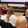 Local police and fire officials are doing critical incident stress management training at the Community Howard Regional Health on February 7, 2020. Lindi Holt and Kimble Richardson do a role playing scenario to help get their point across of counciling coworkers who have been threw a stressful situation.<br /> Tim Bath | Kokomo Tribune