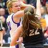 2-22-20<br /> Northwestern vs Penn girls basketball semistate<br /> NW's Klair Merrell looks for a pass over Penn's Reganne Pate.<br /> Kelly Lafferty Gerber | Kokomo Tribune