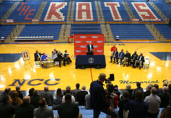 """Purdue University men's basketball coach Matt Painter speaks during a special ceremony inside Memorial Gym on Thursday, Feb. 6, announcing the honorary renaming of West Superior Street leading to Memorial Gym """"Jimmy Rayl Boulevard.""""<br /> Kelly Lafferty Gerber 