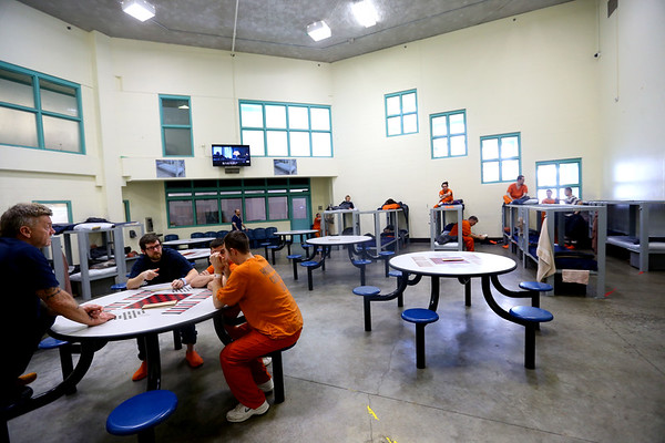 Howard County Criminal Justice Center has been consistently overcrowded in part because of the 70 level 6 felon inmate that the state is housing on February 21, 2020. One of the recreation areas was turned into a dorm for inmates.<br /> Tim Bath | Kokomo Tribune