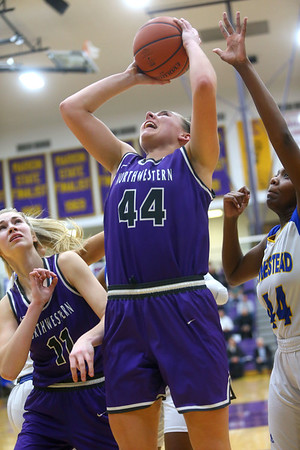 2-15-20<br /> Northwestern vs Homestead girls basketball regional championship<br /> Kendall Bostic puts up a shot.<br /> Kelly Lafferty Gerber | Kokomo Tribune