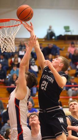 2-14-20<br /> Cass vs Western boys basketball<br /> Western's Cooper Jarvis puts up a shot.<br /> Kelly Lafferty Gerber | Kokomo Tribune