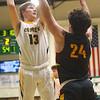 2-18-20<br /> Eastern vs Alexandria boys basketball<br /> Evan Monize puts up a shot.<br /> Kelly Lafferty Gerber | Kokomo Tribune