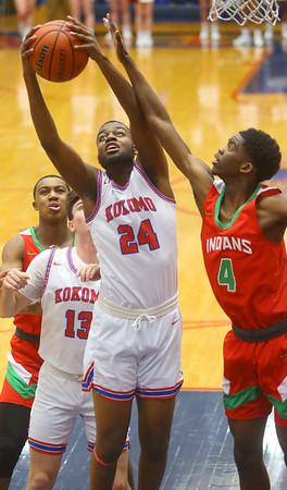 2-21-20<br /> Kokomo vs Anderson boys basketball<br /> Kokomo's R.J. Oglesby pulls down a rebound.<br /> Kelly Lafferty Gerber   Kokomo Tribune