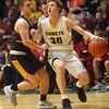 2-18-20<br /> Eastern vs Alexandria boys basketball<br /> Brayden Richmond takes the ball down the court.<br /> Kelly Lafferty Gerber | Kokomo Tribune