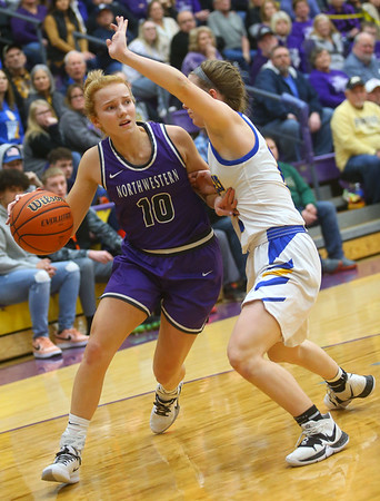 2-15-20<br /> Northwestern vs Homestead girls basketball regional championship<br /> Klair Merrell heads down the court.<br /> Kelly Lafferty Gerber   Kokomo Tribune