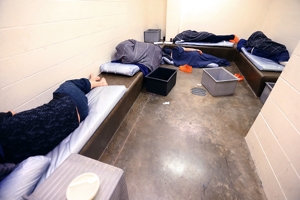 Howard County Criminal Justice Center has been consistently overcrowded in part because of the 70 level 6 felon inmate that the state is housing on February 21, 2020. Five inmates sleep in one of the holding cells.<br /> Tim Bath | Kokomo Tribune