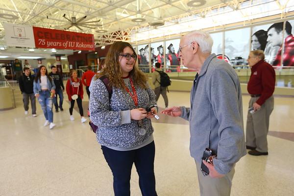 Six Primrose Retirement Community residents handed out Hershey bars and Amazon gift cards at IUK on Monday February 17, 2020. <br /> Tim Bath | Kokomo Tribune