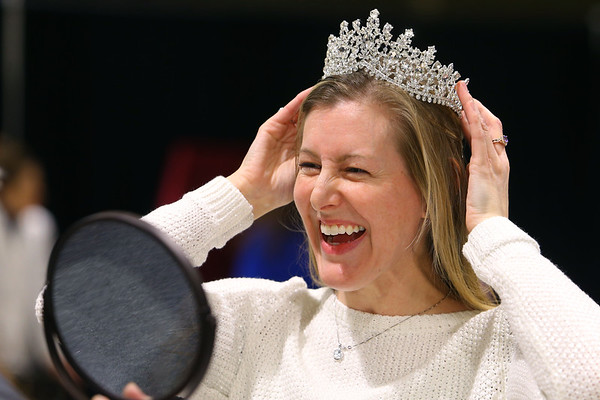 Ashley Shanks tries on tiaras at The Tiara Lady's booth at the Heartland Bridal show at the Kokomo Event and Conference Center on February 29, 2020.<br /> Tim Bath   Kokomo Tribune