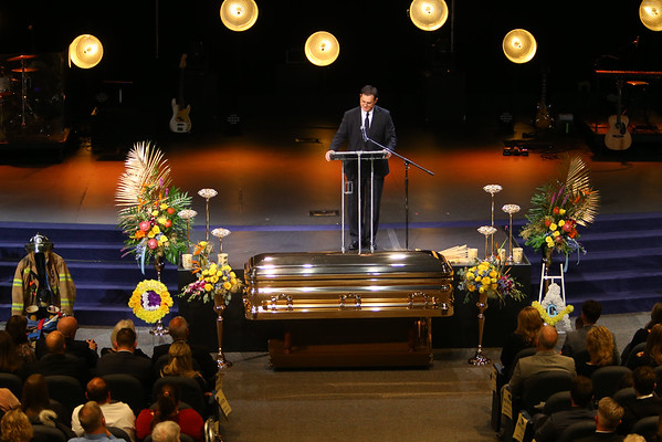 Funeral for Jeff Stout at Crossroads Community Church on February 14, 2020. Rex Gingrich, life-long friend of Jeff, talks about Jeff befriending him after his mother died.<br /> Tim Bath | Kokomo Tribune