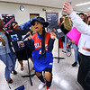 Kokomo High School students dress as famous musicians during lunch hour for Black History Month on February 26, 2020. Ray Charles portrayed by James Herring does a musical number. Shanelle Majors sings and dances as Miss Elliott with Mae Brandon recording the act.<br /> Tim Bath | Kokomo Tribune