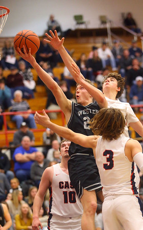 2-14-20<br /> Cass vs Western boys basketball<br /> Western's Evan Kretz puts up a shot.<br /> Kelly Lafferty Gerber | Kokomo Tribune