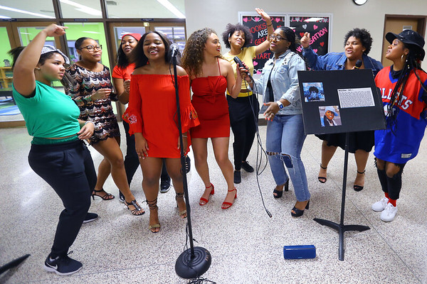 Kokomo High School students dress as famous musicians during lunch hour for Black History Month on February 26, 2020. Some of the students would join in as one would break out in song.<br /> Tim Bath | Kokomo Tribune