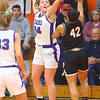 2-22-20<br /> Northwestern vs Penn girls basketball semistate<br /> NW's Kendall Bostic blocks the shot of Penn's Trinity Clinton.<br /> Kelly Lafferty Gerber | Kokomo Tribune