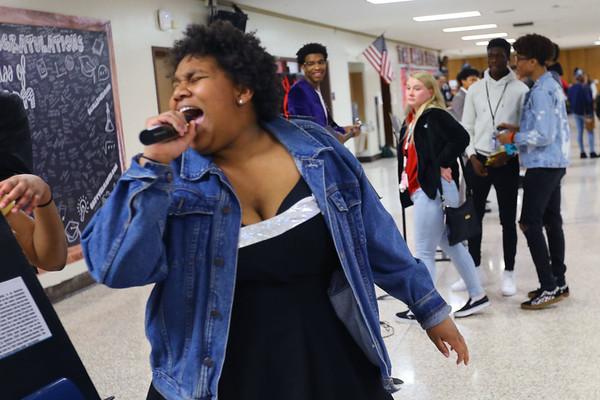 Kokomo High School students dresses a famous musicians during lunch hour for Black History Month on February 26, 2020. Mackenzie Martin doing her impression of Tina Turner.<br /> Tim Bath | Kokomo Tribune