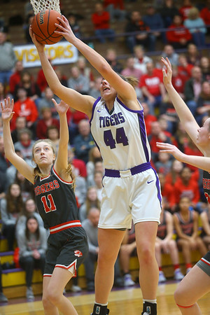 2-15-20<br /> Northwestern vs Fishers girls basketball regional semi-final<br /> Kendall Bostic grabs a rebound.<br /> Kelly Lafferty Gerber | Kokomo Tribune
