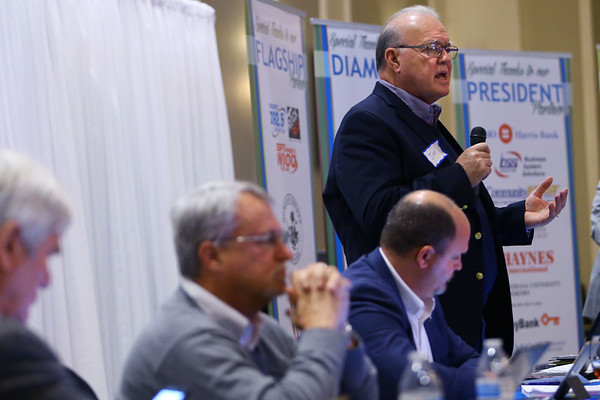 2020 Third House Session hosted by the Greater Kokomo Chamber of Commerce on February 21, 2020, at the Bel Air. Representative Tony Cook, Mike Karickhoff and Heath VanNatter along with Senator Jim Buck talk and answer questions about the present legislative session.<br /> Tim Bath   Kokomo Tribune