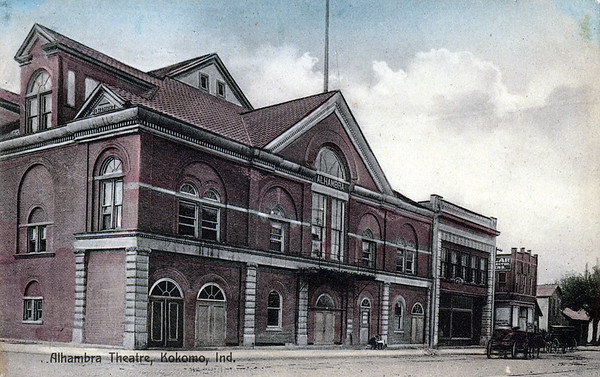 Alhambra Theatre, Kokomo, ca. 1900Black and white, tinted photo; Alhambra theatre (Auditorium*); Sycamore and Buckeye, three-story  brick.*Later the building was a roller rink and Leath's Furniture Store