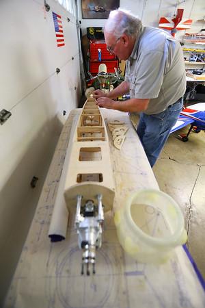 Chuck Fowler makes his own RC airplanes on January 8, 2020.<br /> Tim Bath   Kokomo Tribune