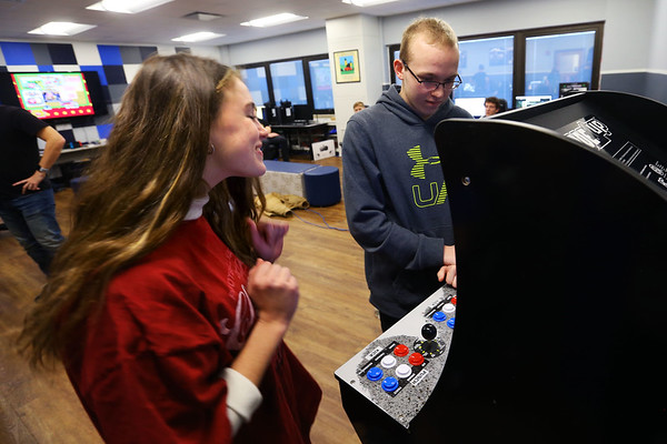 Tipton HS students in John Robertson's video game class research different aspects of game throughout the history of gaming and then get to play some of the old games on January 29, 2020. Meghan Moses gets excited after beating Spencer Harrison in the first of three games. He ultimately beat her and went on the the championship round.<br /> Tim Bath | Kokomo Tribune
