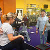 Manager of Tipton's Anytime Fitness Dakota Cole helps Marla Tilley with an exercise during the gym's Actively Aging class on Wednesday, Jan. 22, 2020. Cole was on Undercover Boss when brand president of Anytime Fitness came for a visit.<br /> Kelly Lafferty Gerber | Kokomo Tribune
